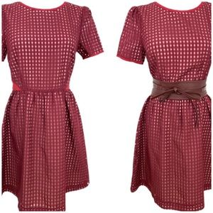 Ara Check Pattern Burgundy Dress